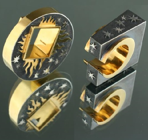 Square sun, square moon. rings. Artwork by Russian jeweler Boris Kolesnikov