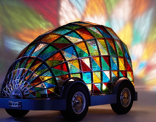 Stained Glass Driverless Sleeper Car by Inventor and designer Dominic Wilcox