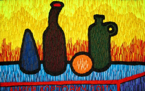 Still life with orange. Acrylic yarn, hand embroidery, 2011. Russian artist Andrey Kortovich