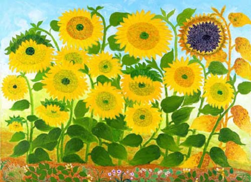 Sunflowers. Painting by Chang Xiufeng 80 year-old Grandma Van Gogh