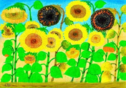 Sunflowers. Painting by Chang Xiufeng - 80 year-old Grandma Van Gogh