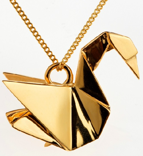 Origami Jewellery Sterling Silver Gold Plated Swan Necklace dY1b0
