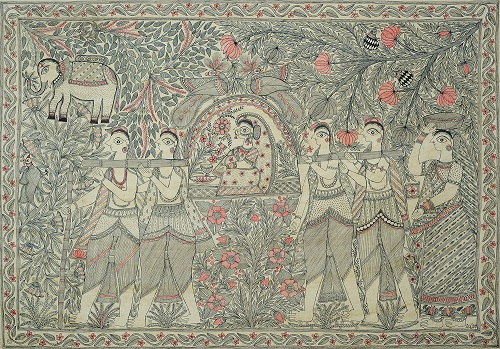 Taking the Bride Home. India Folk painting