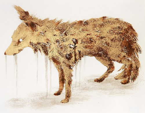 Taxidermy Drawings, metal leaf, corrosive, ink and pencil on paper. Artist Sarah A. Smith