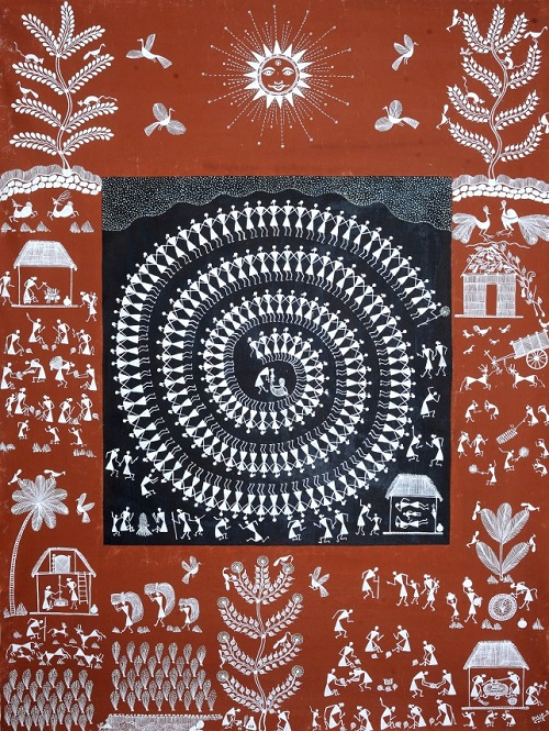 The Chakra of Life. India Folk painting