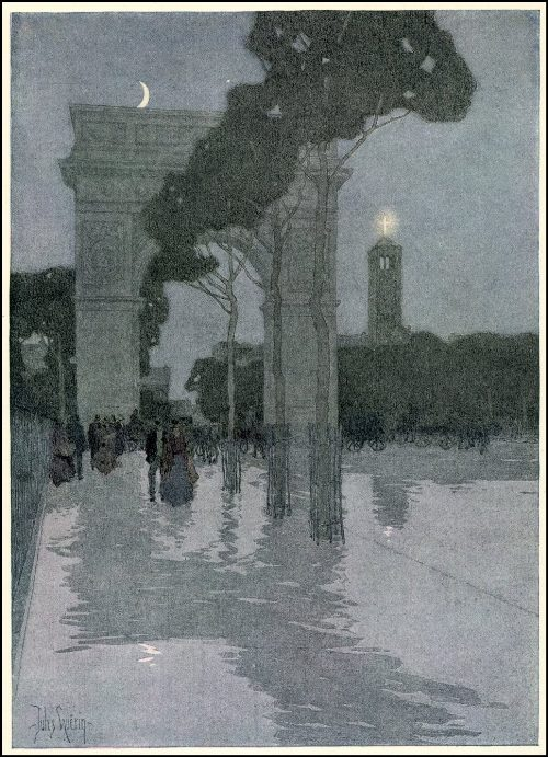 The Washington Arch in Washington Square. Painting by American artist Jules Guerin