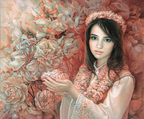 The aromatic treasure of Bulgaria. Female portrait by Bulgarian painter Maria Ilieva