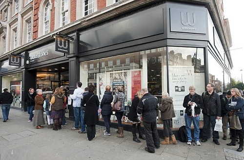 The crowds queuing around the block to give Uggie a pat on the head at his first British book signing on October 30, 2012