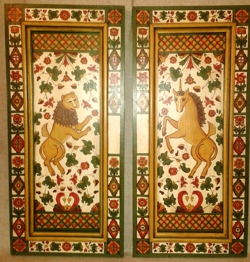 The doors to the cabinet on the personal order. Paneled door with the author hand-painted 'Lion and the Unicorn'. Painted old, varnished and waxed bitumen