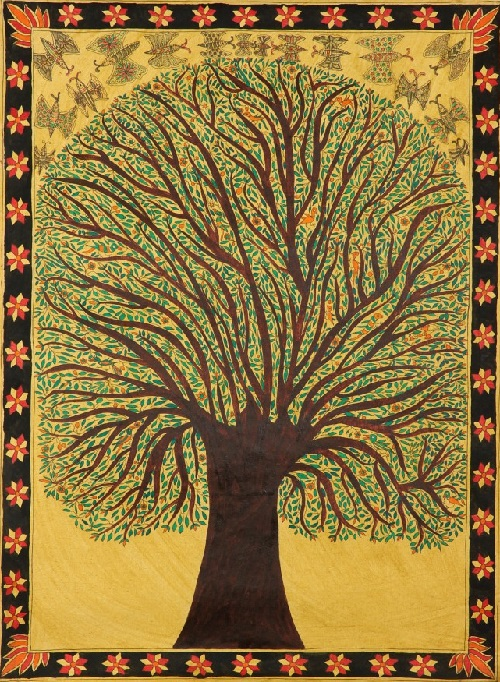 Tree of Life. Folk painting on hand-made paper. Artist Vibhuti Jha, Village of Madhubani (Bihar)
