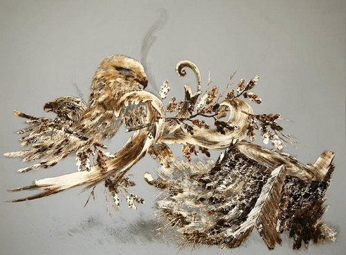 Two Hawks - 2009. Metal leaf, corrosive, ink and pencil on paper. Gold Drawing by Sarah A. Smith