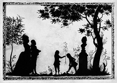 Unknown artist of the XVIII century. Silhouette of Russian Grand Duke Paul Petrovich and Grand Duchess Maria Feodorovna with sons Alexander and Constantine, planting a tree in front of the bust of Catherine II. 1784 - 1785. The State Hermitage Museum, Silhouette paper cut art