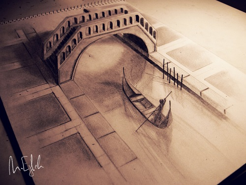 Venice. Three dimensional pencil drawing by Syrian artist Muhammad Ejleh