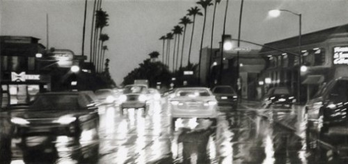 Ventura Boulevard at Laurel Terrace, 8pm. Hyperrealistic pencil drawings by Elizabeth Patterson