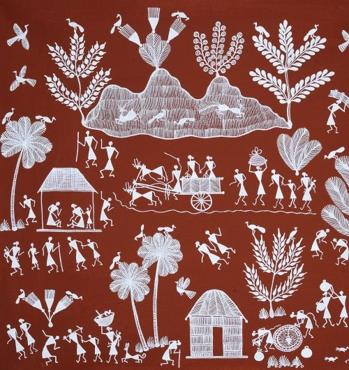 Village Scene. India Folk painting