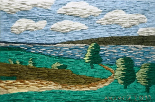 Volga landscape. Acrylic yarn, 2012. Embroidery by Russian artist Andrey Kortovich