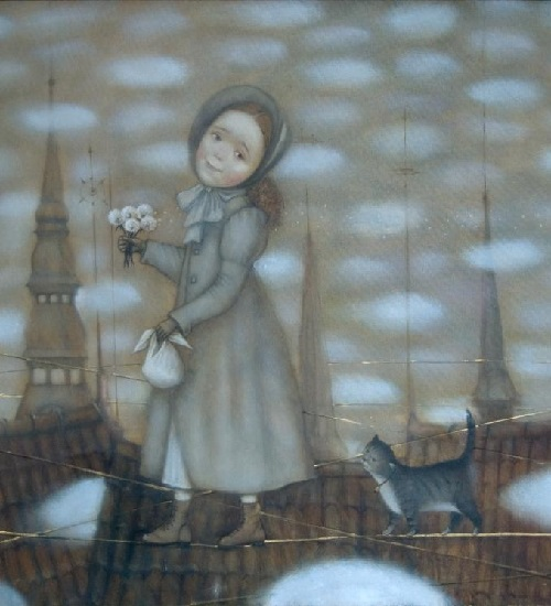 Walking with cat. Painting by Russian artist Natalia Syuzeva