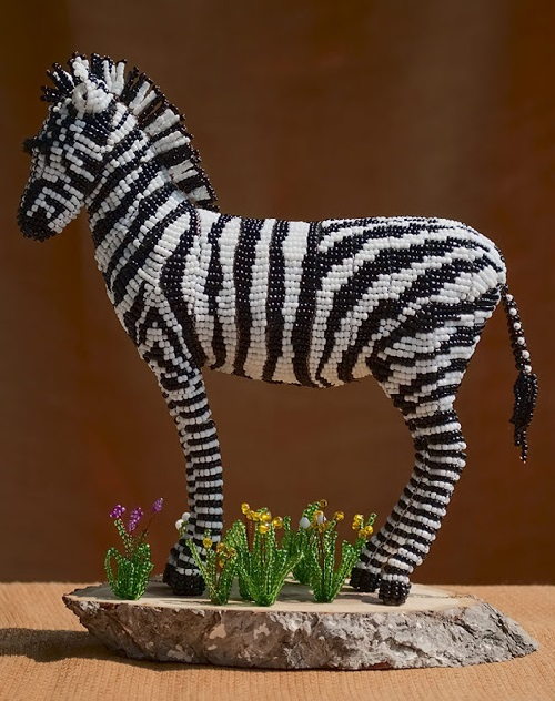 Zebra. beaded sculptures by Zhanna Vasilyeva