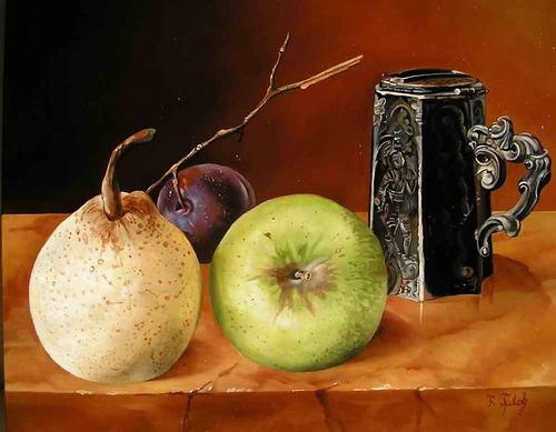Hyperrealistic still-life painting by Hungarian self-taught artist Ferenc Tulok