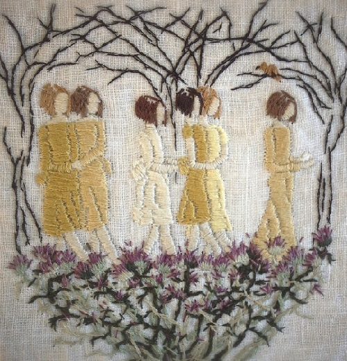 Even nightingales cannot live on fairy-tales. Stitched painting by Michelle Kingdom