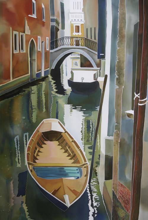 Venice Olive. Silk paintings by Natasha Foucault
