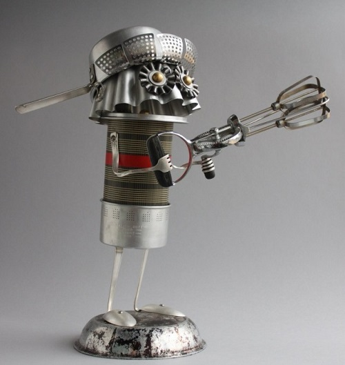 'Adopt a bot' metal junk art by American sculptor Brian Marshall
