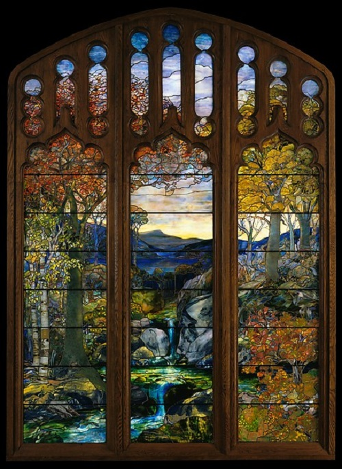 Autumn Landscape, 1923–24. Louis Comfort Tiffany stained glass art