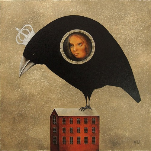 Black Bird. Painting by Russian artist Nick Fedaeff