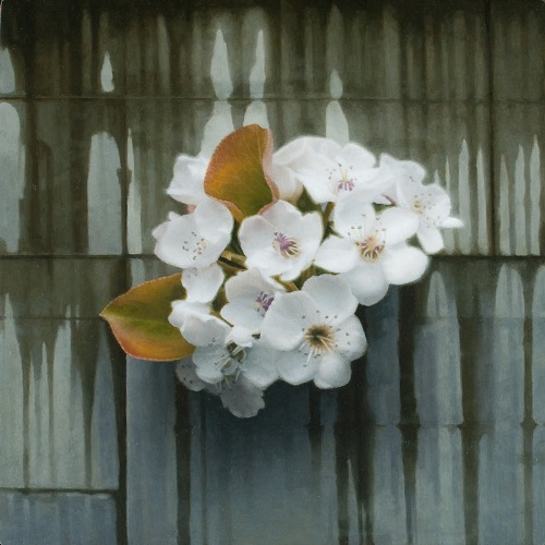 'Blossom II', oil on board. Hyperrealistic painting by Patrick Kramer