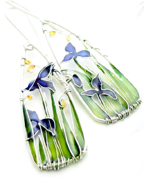 Blue Iris Silver Wire Earrings. Art Nouveau Jewelry. Made by Bulgarian jeweler Elitsa Altanova