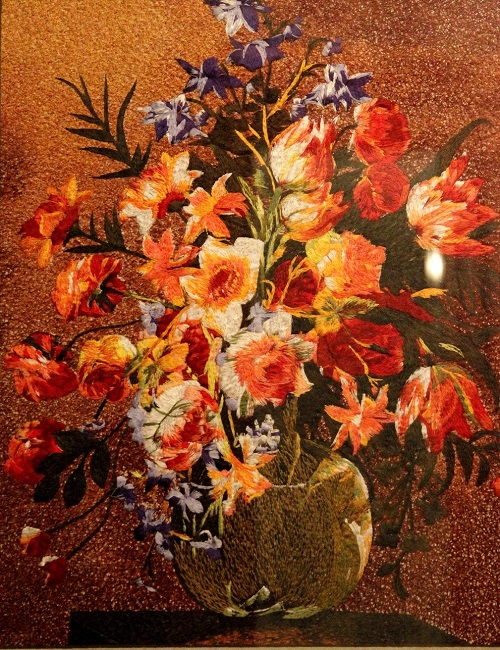 Bouquet. Silk hand embroidery on silk. Made in China