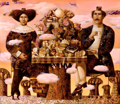 Breakfast in clouds. 2006. Oil on canvas. Private collection