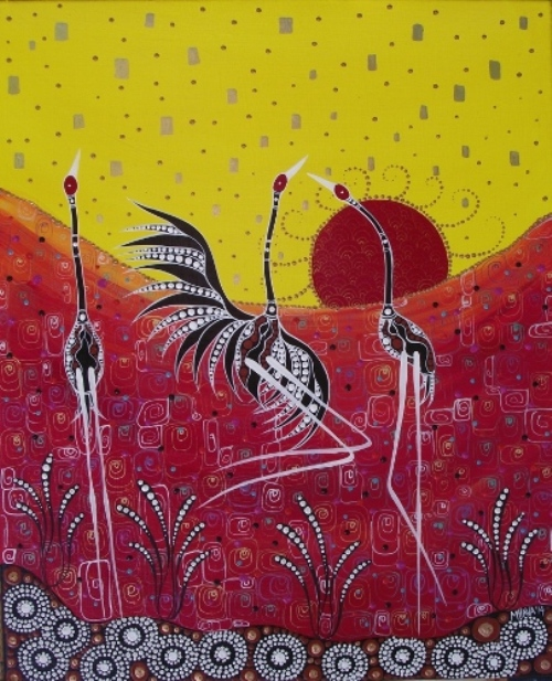 Dancing in Sun. Aboriginal painting by Australian artist Melanie Hava