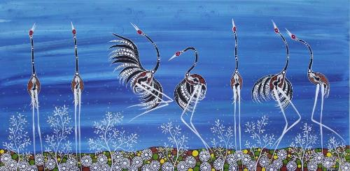 in Blue Acrylic. Aboriginal painting by Australian artist Melanie Hava