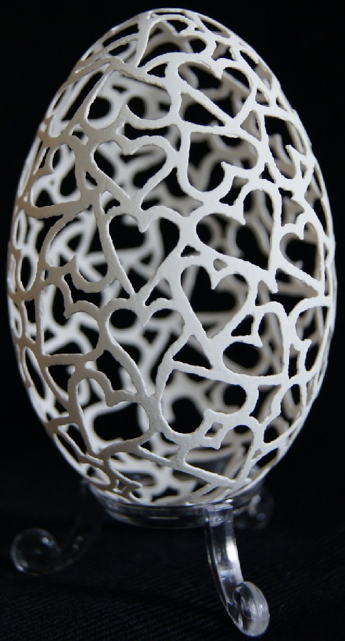 Carved goose eggs by Piotr Bockenheim