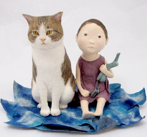 Cat and girl. Washi paper art by Kyoko Hazama