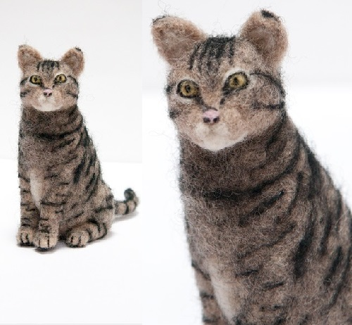 Cat. Miniature realistic felted sculpture by Kiyoshi Mino