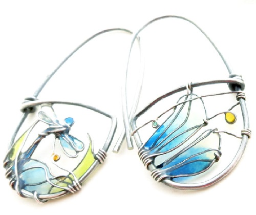 Close-up Dragonfly sterling silver earrings with a picture of a beautiful sunny landscape with a dragonfly. Made by Bulgarian jeweler Elitsa Altanova