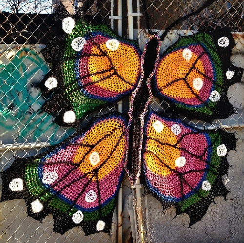 Crochet street art by London Kaye