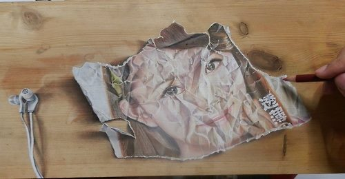 Crumpled Paper. Pastel and ink on wood. Hyperrealistic drawing by Singaporean artist Ivan Hoo
