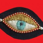 Pearl, golden beads, embroidered brooch