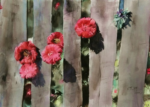 Flowers through Fence. Watercolor painting by Chinese watercolorist Guan Weixing