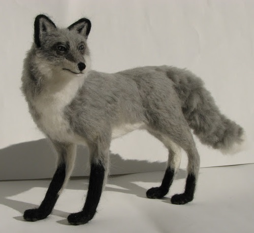 Fox. Miniature felted animals by Kiyoshi Mino