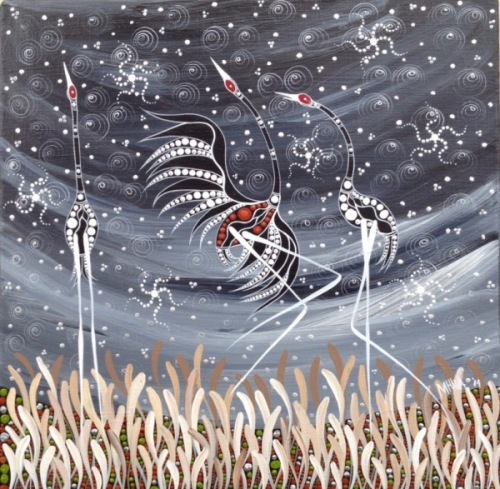 Frolicking in the Grass. Aboriginal painting by Australian artist Melanie Hava