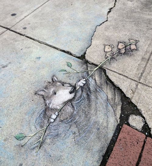 Funny street art by American self-taught artist David Zinn