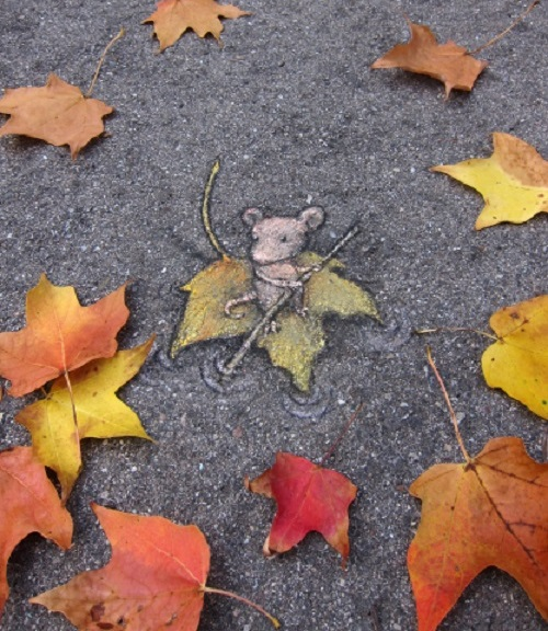 Funny street art by David Zinn. Captain Gloucester Leafraft hires