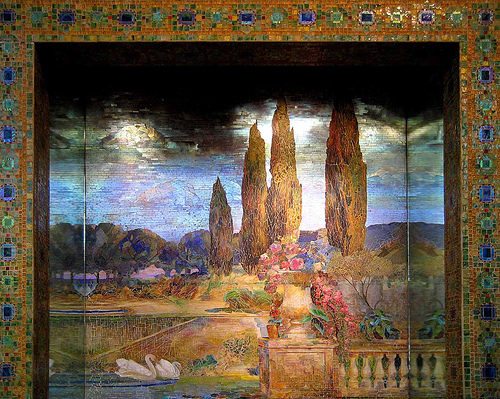 Garden Landscape and Fountain, ca. 1905–15. Louis Comfort Tiffany Studios. Favrile glass, cement
