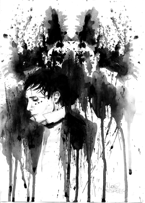 IAMX, watercolor painting by Russian artist Lora Zombie