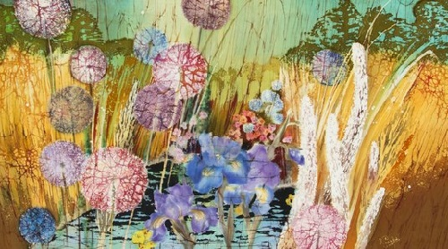 Romantic Painting on silk by batik artist Irina Kazimirova