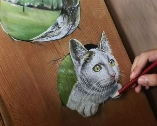Kitten. Pastel And Acrylic On Wood. Hyperrealistic drawing by Singaporean artist Ivan Hoo